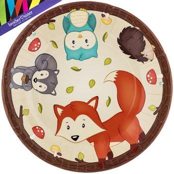 Woodland Party Paper Plates Large Woodland baby