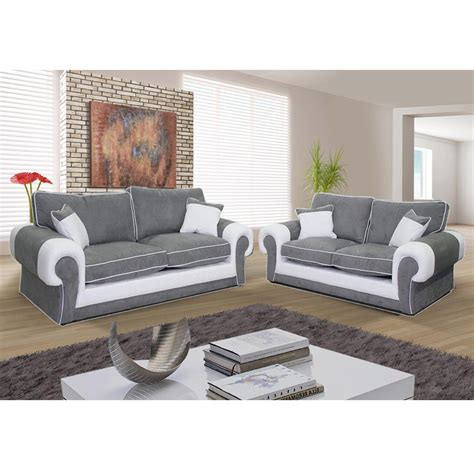 canap駸 2 places canapé 3 places et canapé 2 places nubuk gris pvc blanc samba dya shopping fr