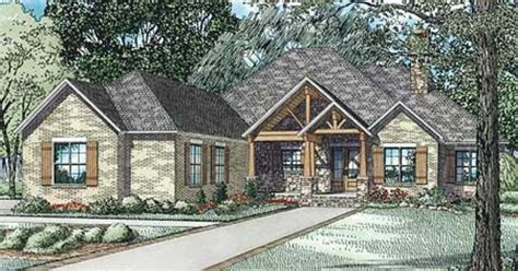 Plan 60603ND: Rustic Brick Ranch Home With Sunroom   3 car
