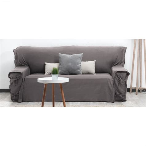 housse de canapé gris housse de canapé 3 places gris uni dessus de chaise
