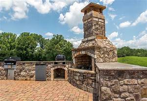 Stacked, Stone, Fire, Pit, And, Grilling, Area, Amazing, Backyard