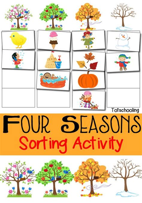 Four Seasons Sorting Activity Free Printable  Sun, Summer And Activities