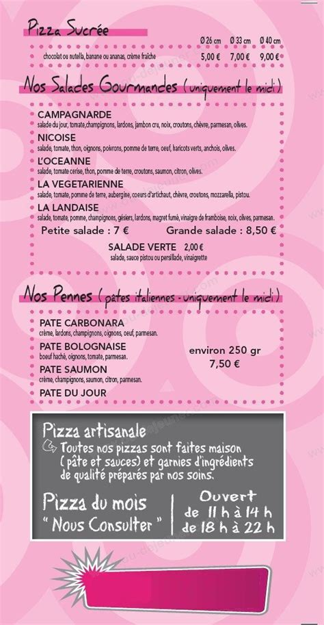 pizza 224 mont de marsan carte menu et photos