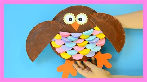 owl paper plate craft  kids youtube