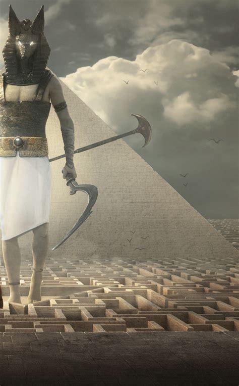 egypt warrior illustration anubis pyramid fantasy art