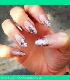 Glitter gradient almond acrylic nails