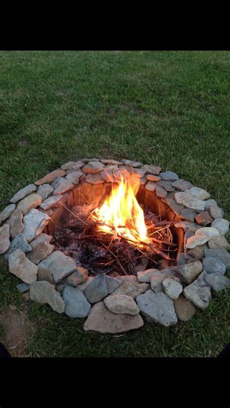 creek rocks  bricks   great fire pit