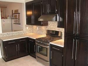 River White Granite Dark Cabinets Backsplash Ideas