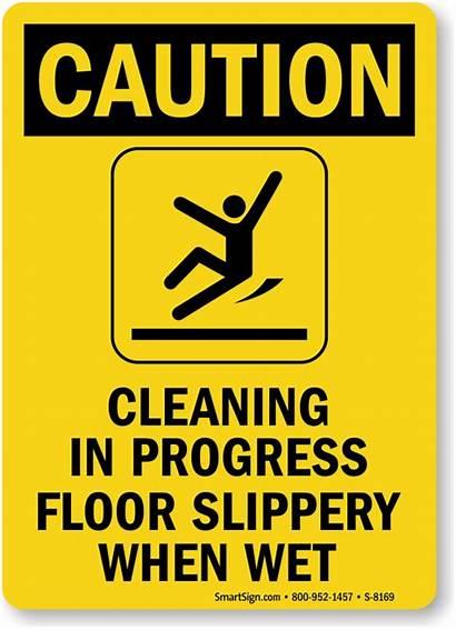 Cleaning Sign Progress Caution Floor Slippery Wet