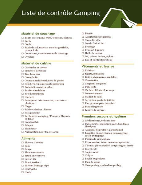liste de controle camping