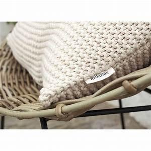 Housse De Coussin : coussin d coratif en coton tricot beige gris bleu p trole bobo mikmax ~ Teatrodelosmanantiales.com Idées de Décoration