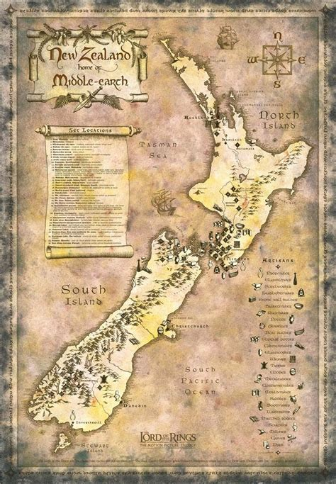 New Zealand Home Of Middle Earth Map Map Of Lord Of The