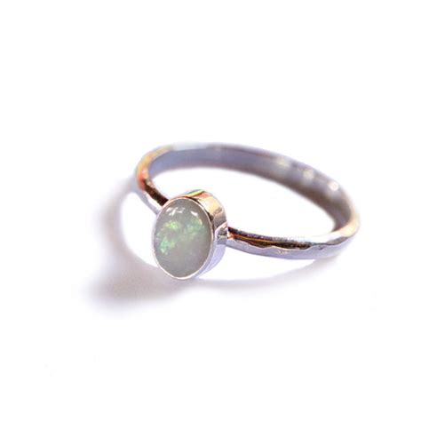 natural white opal natural white opal ring in solid 925 sterling silver stack