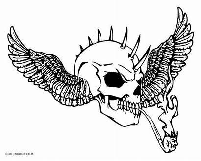 Skull Coloring Pages Evil Skulls Cool Flaming