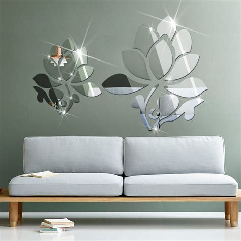 lotus patterns mirror stickers marriage room living