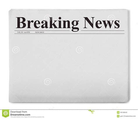 breaking news template breaking news title on newspaper stock illustration illustration of blank typescript 49108040
