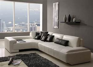 Modern White Leather Living Room Furniture : Cabinet