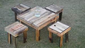 Juego De Mesa De Jardin De Tarimas Y Madera Reciclada Mesa+4 $ 3,499 99 en Mercado Libre