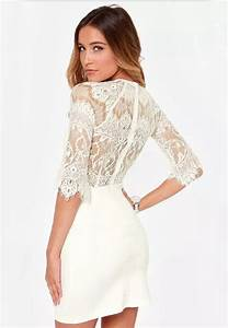 white half sleeve lace bodycon dress abadaycom With robe courte en dentelle noire