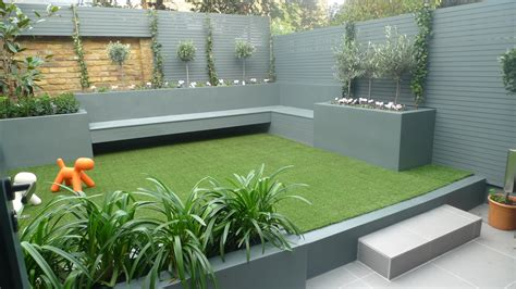 modern small low maintenance garden grass grey raised