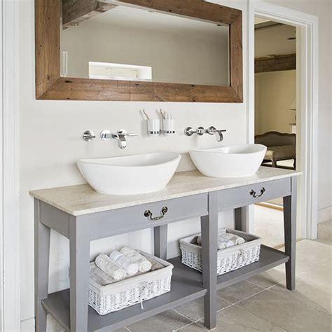Shabby Chic Bathroom Vanity Unit by Neutral Tiled Bathroom With Grey Vanity Unit Grey Vanity
