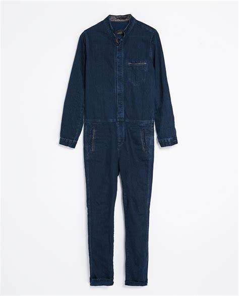 mens denim jumpsuit zara denim jumpsuit with faux leather in blue for