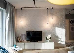 Brique De Parement Blanche : parement mural salon et peinture artistique en 80 id es d co en 2018 parement style loft ~ Nature-et-papiers.com Idées de Décoration