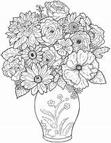 Coloring Flower Pages Vase Printable Flowers Colouring Bouquet Floral Colour Adults Adult Colorear Para sketch template