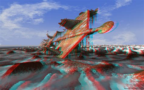 Polar coast landscape - 3D stereo anaglyph image (red/cyan ...