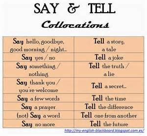 tips class online my blackboard say tell structures and collocations