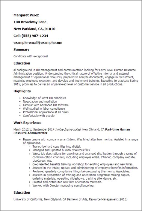 human resources resume for entry level entry level human resource administration resume template