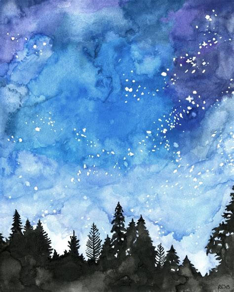 Watercolor Painting Galaxy Painting Night Sky Galaxy Print