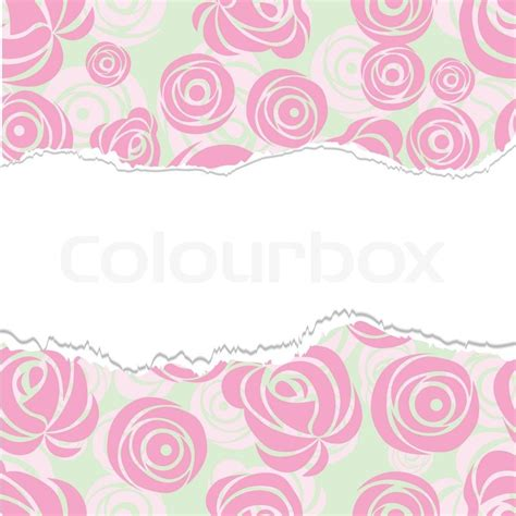 torn paper wrapping pink art vector rose pattern seamless