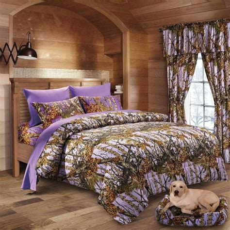 7 pc lavender camo comforter and sheet camouflage