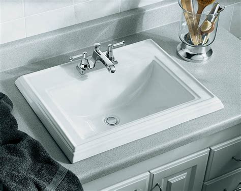 drop in bathroom sink replacement faucet k 2241 4 47 in almond kohler drop in bathroom sink