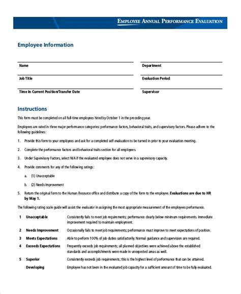 sle employee evaluation form 9 exles in pdf word