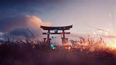Zen Torii Landscape Clouds Butterflies Nature Wallpapers