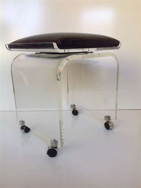 Swivel Vanity Chair With Wheels by Acrylic Swivel Top Vanity Stool Designed By Charles Hollis