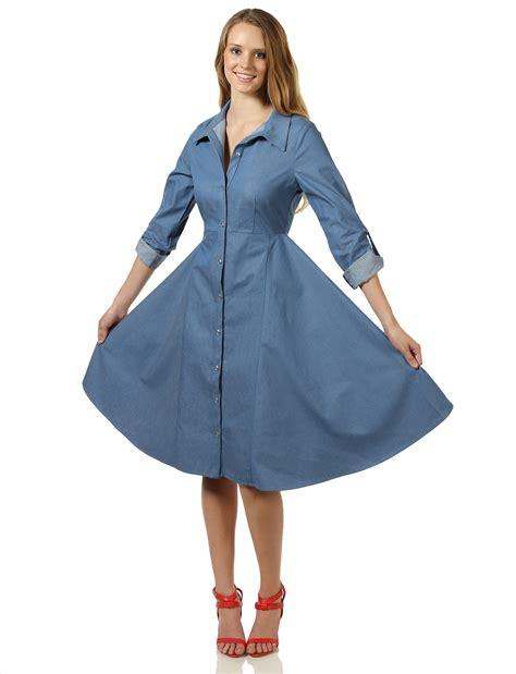 a line denim dress 7encounter roll up sleeve denim a line shirt dress