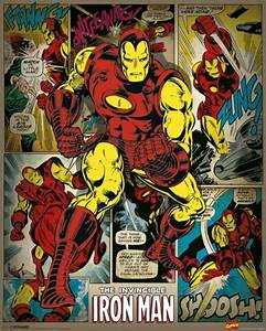 Poster, Quadro MARVEL COMICS - iron man retro su ...