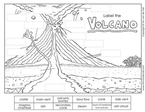 label  volcano worksheet tims printables