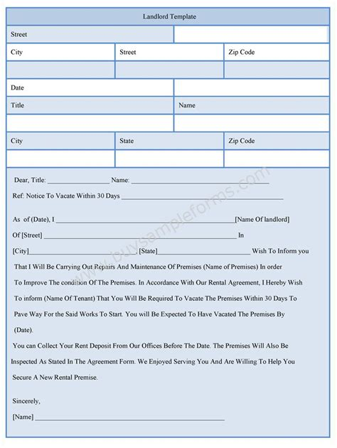 landlord template form sample forms