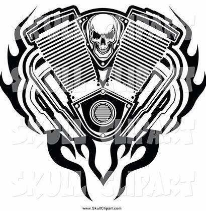 Engine Skull Flames Vector Clip Clipart Block