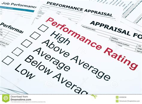 360 Degree Performance Appraisal Forms And Exles Mr Performance Rating And Appraisal Form Stock Photo Image