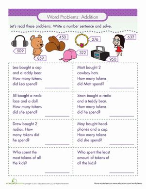 word problems addition education tools and worksheets
