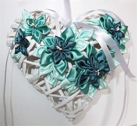 fiori nascita cuore di vimini fiocco nascita con fiori kanzashi colore