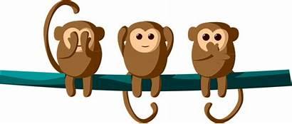 Monkeys Cartoon Hear Clipart Cheeky Three Speak