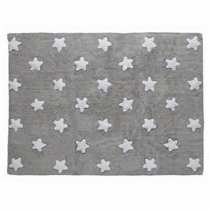 Tapis Enfant Etoile : tapis chambre enfant gris etoiles blanches coton lorena canals 120 x 160 cm ~ Teatrodelosmanantiales.com Idées de Décoration