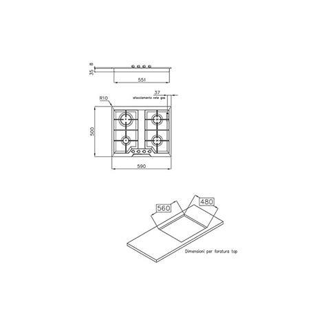 piano cottura misure piano cottura 4 fuochi misure piano cottura cm