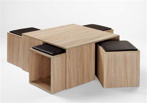 Table Basse Contemporaine Avec Poufs Chêne Nature Celaya